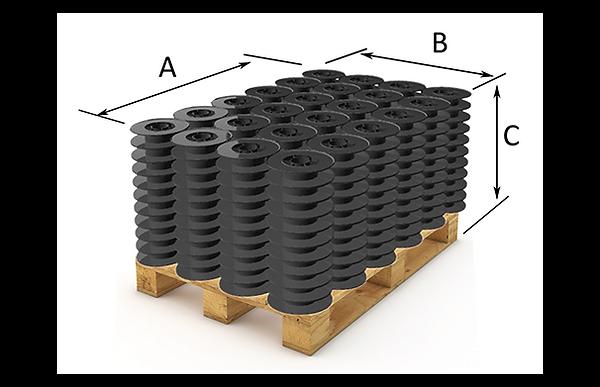 packaging on pallet, plastic spools