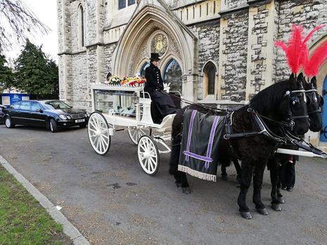 Black horses white carriage