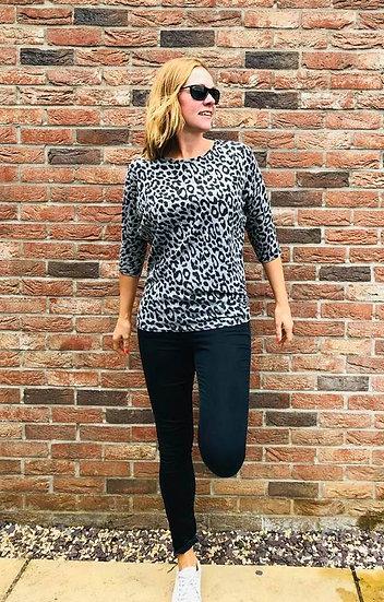 Grey Leopard Soft Brush Top