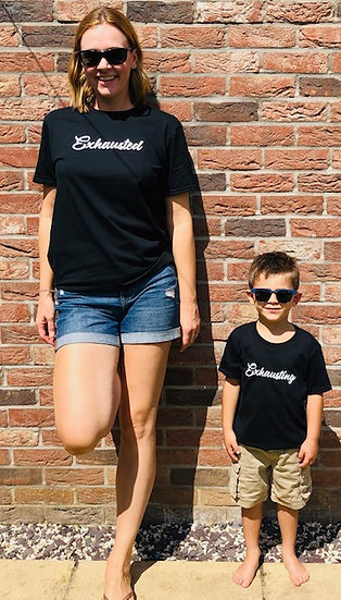 KIDS Exhausting slogan T-shirt Black