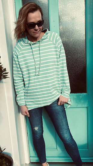 Mint Stripe Hoodie