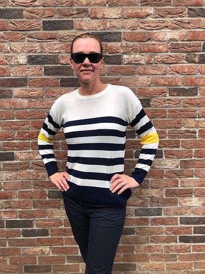 Blue Stripe fine knit jumper