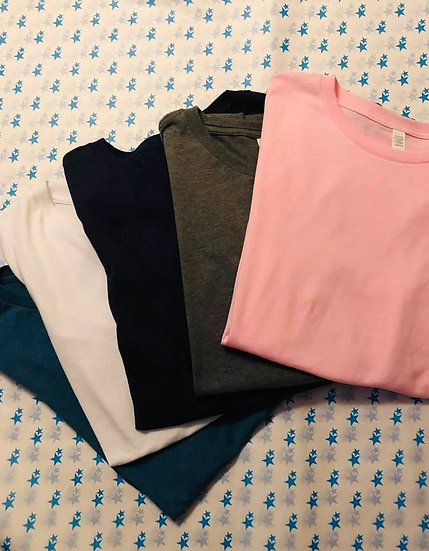 Bluestar Basic Tees in Teal, Grey, Pink, Navy and White