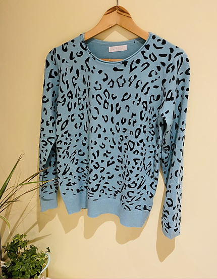 Lightweight Leopard Print Jumper mint/white/grey
