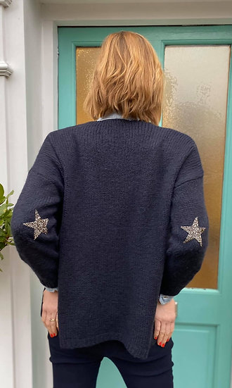 Star Cardigan in Stone and Navy