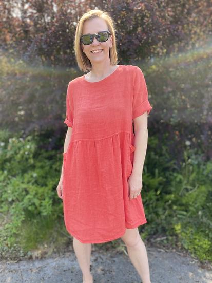 2 pocket Linen dress in Coral