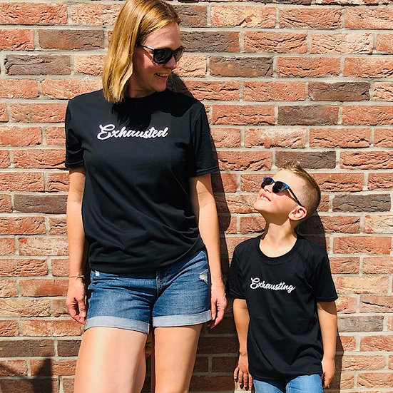Adults Exhausted T-shirt Black