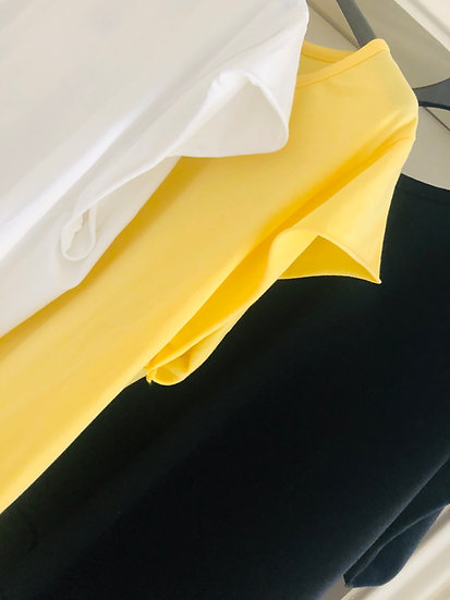Bluestar Basics Cap Sleeve Tee White, Yellow, Mint and Black