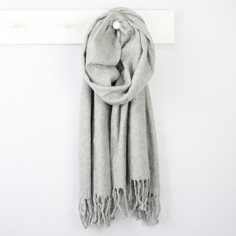 Lambswool Scarf in Light Grey and Navy