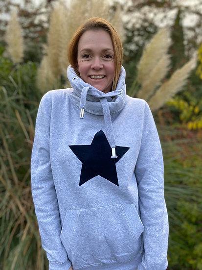Original Cross neck STAR Hoodie in Grey