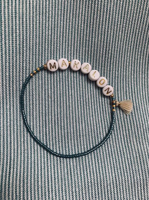 """Bracelet """"PRENOM"""" plaqué or & rocailles"""