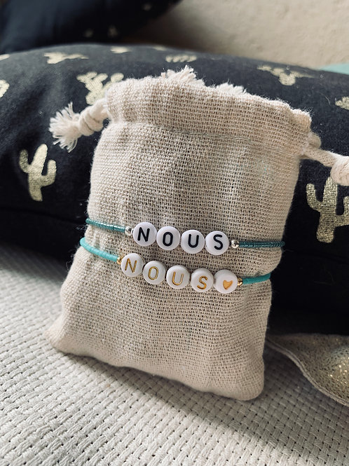 """Bracelets """"NOUS"""" Saint-Valentin rocailles plaqué or et argent"""