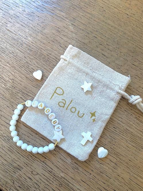 Bracelet agates blanches plaqué or DEUX PRÉNOMS