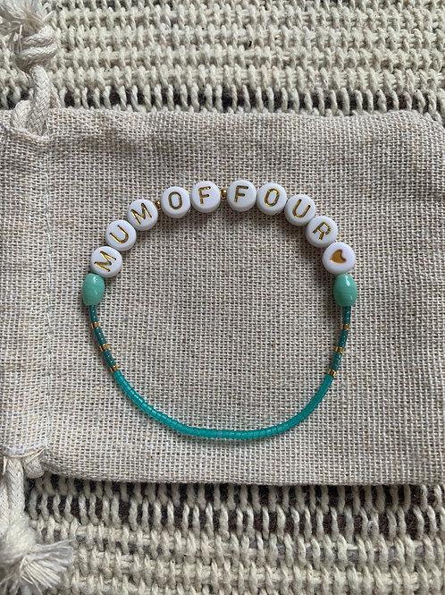 """Bracelet """"MUM OF..."""" plaqué or argent et turquoise"""