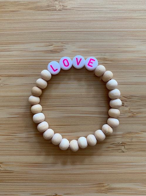 Bracelet bois LOVE rose