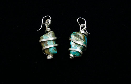 Turquoise Earrings with Sterling Wrap