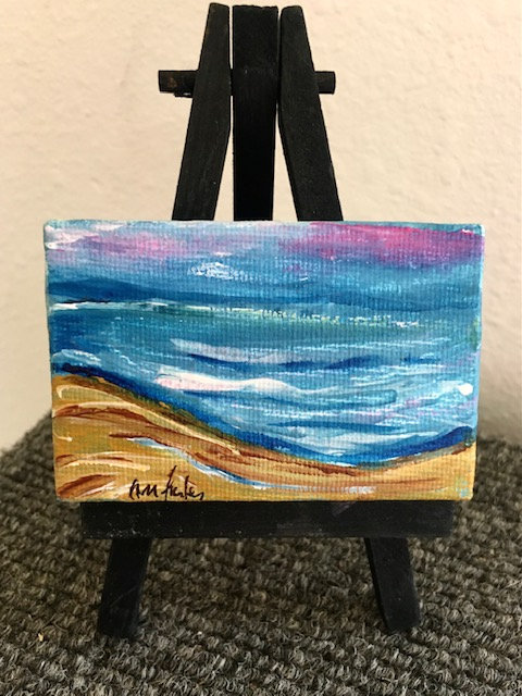 Mini Canvas Seascape Painting with Easel