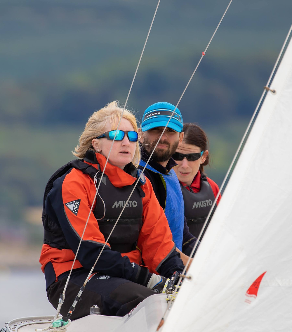 GBR1 sailing upwind, Lucy, Liam and Sharon