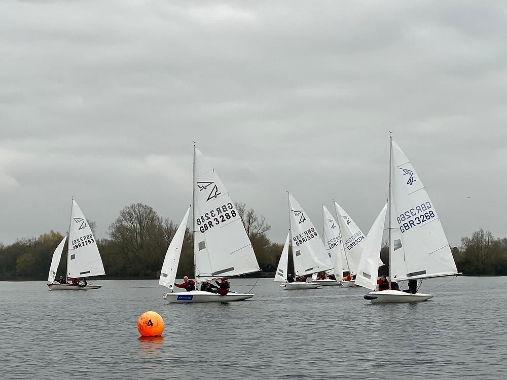 Fleet sailing close down wind