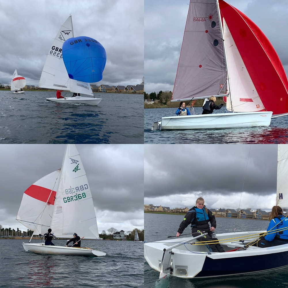 Pictures of the weekend, Eddie and Chris crewing with spinnakers. Kate at the helm - March weekend.