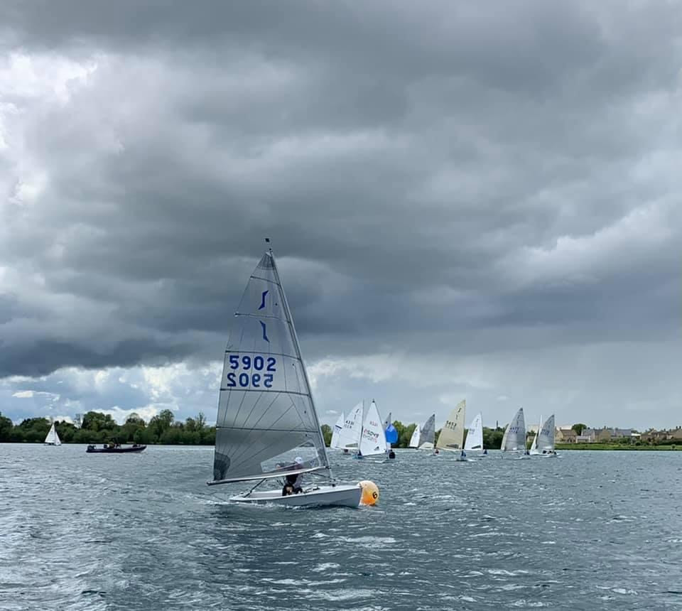 A darkening sky with Blind Sailing boats mixing it in with 20 club boats.