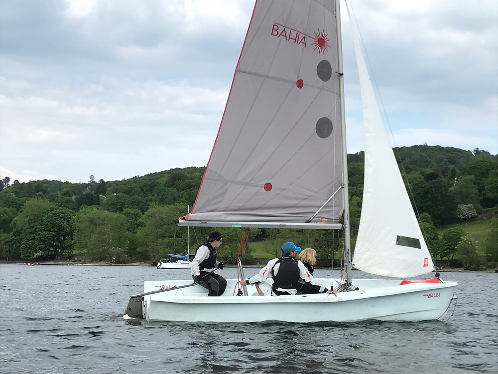 Lucy, Liam and Sharon, Windermere dinghy.