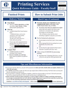 Printing Services Quick Reference Guide - page 2 - 2016