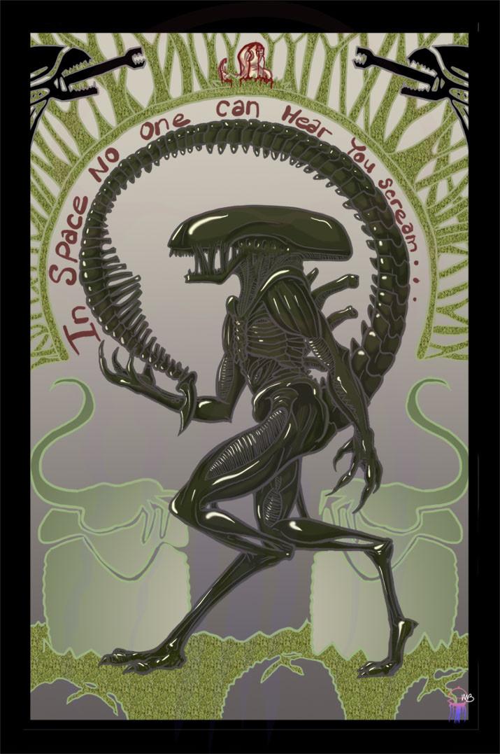 Alien Art Nouveau Poster - 2015