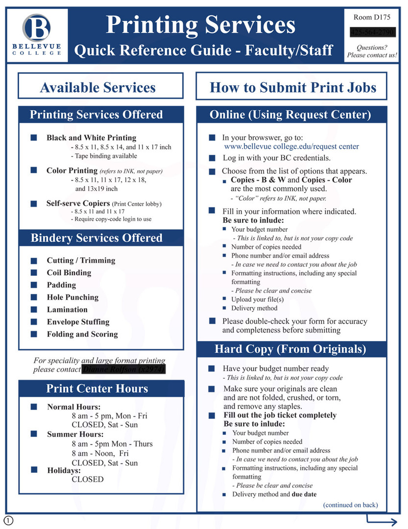 Printing Services Quick Reference Guide - page 1 - 2016