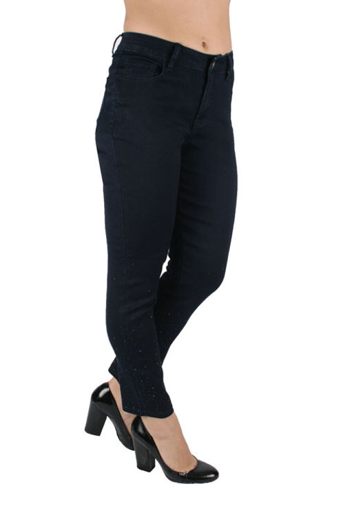 Navy Blue Denim Pants with ankle bling