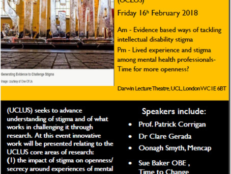 University College London Unit for Stigma Research Launches 16th Feb: Will you be there?