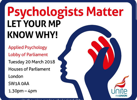 Psychologists Matter: Speaking at Parliamentary lobby with Unite in Health on 20th May.