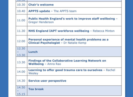 Speaking at the Accreditation Programme for Psychological Therapies #APPTS