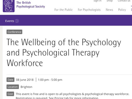 in2gr8mentalhealth speaking at British Psychological Society staff wellbeing conference, Brighton 20