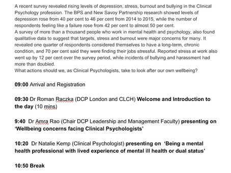 Speaking at the Division of Clinical Psychology London on Staff Wellbeing 26.1.17