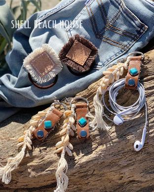 shell beach house【ホルダーキーチェーン/レザーフリンジヘアゴム】