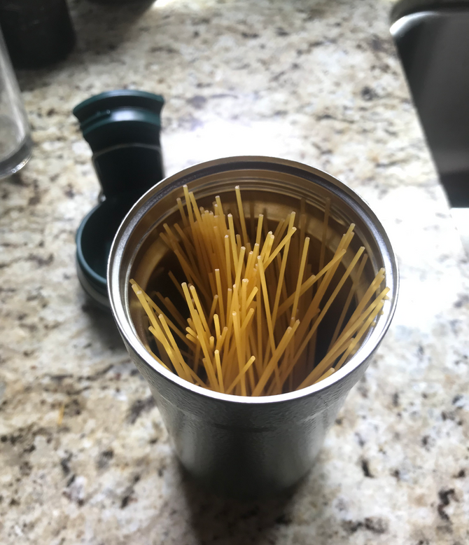 "Travel Mug Pasta!  Fun, easy, fast food cooked ""passively""!"