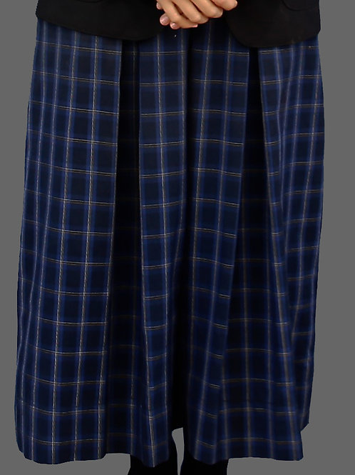 Pleated Navy Tartan Skirt