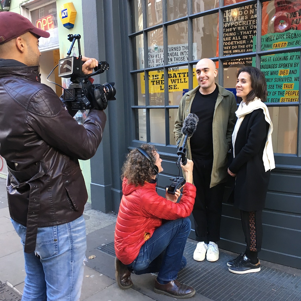 Making the crowdfunding film outside the gallery, with from left to right Raymond Hemson, Dan Sansome, Philip Levine and Andreia Costa