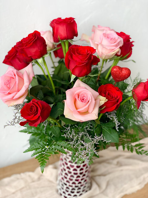 Premium Vase- 18 rose arrangement