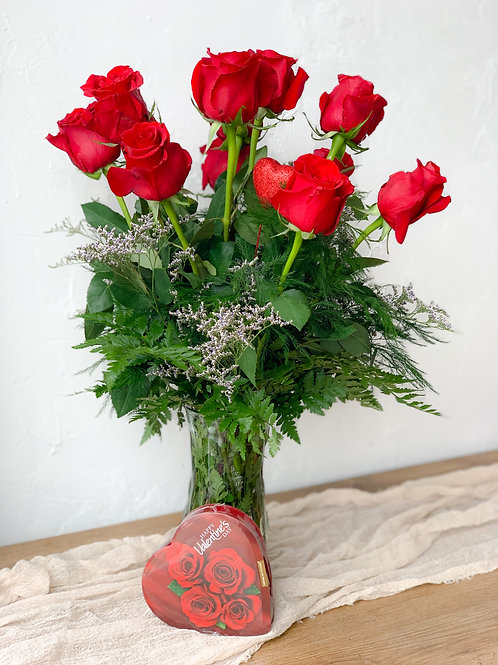 Dozen roses arranged in a vase