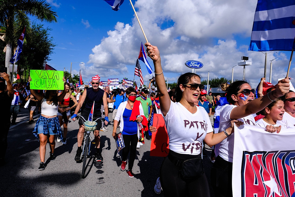 Cuban Americans protest for freedom in Cuba.