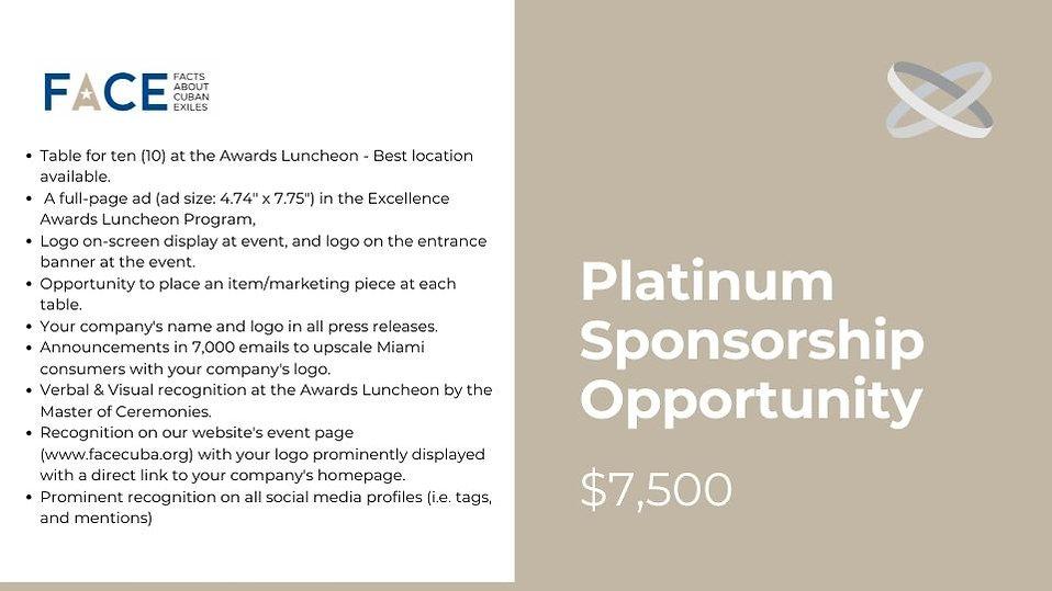 2021 FACE Excellence Awards Platinum Sponsorship