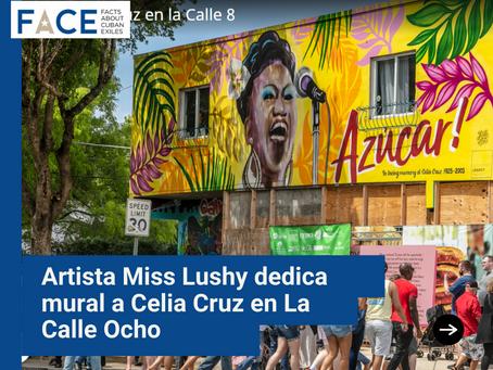 Artista dedica mural a Celia Cruz en La Calle Ocho