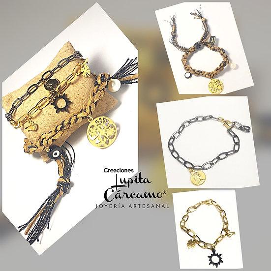 Set pulseras gamuza hilos y cadenas  ( 3 pulseras)