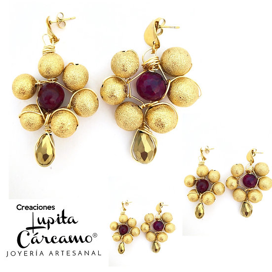 Aretes Constance Dorado/vino