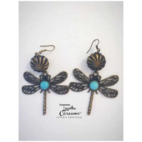 Aretes de libélulas y piedra turquesa