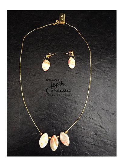 Gargantilla de chapa de oro piedra amazonita