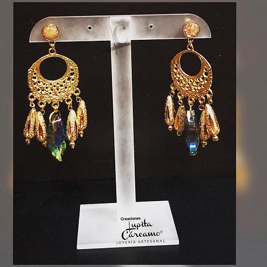 Aretes atrapasueños dorado /Cristal