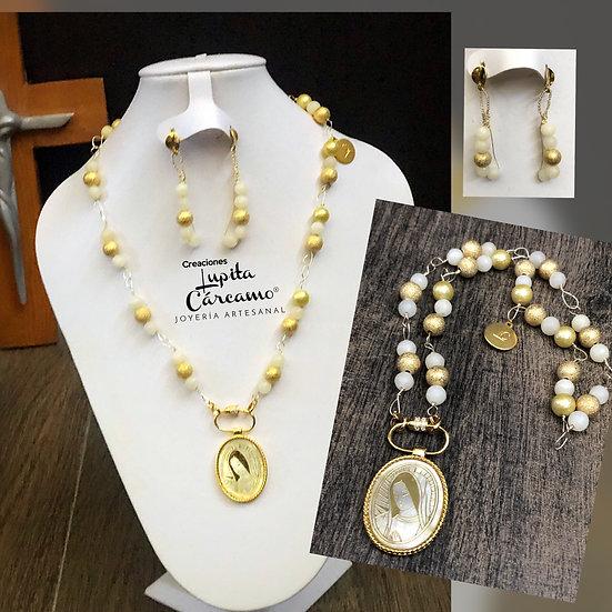 Collar Virgen de Guadalupe ( con Aretes )